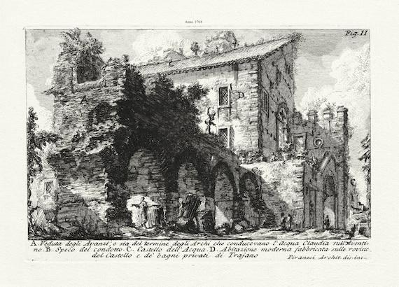 Giovanni Battista Piranesi, Veduta degli Avanzi, o sia del termine degli Archi che conducevano l'Acqua, 1764, on canvas, 50 x 70 cm approx.