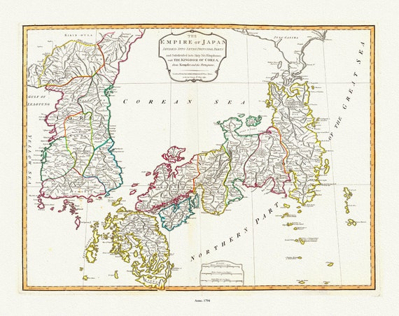 """Japan and Korea, 1794, Laurie, Whittle et Kitchin auths., map on heavy cotton canvas, 50x70cm (20 x 25"""") approx."""