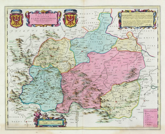 Poland: Poloniae, Dvcatvs Silesiae Schwidnicensis, 1665, Bleau auth., map on heavy cotton canvas, 50 x 70 cm
