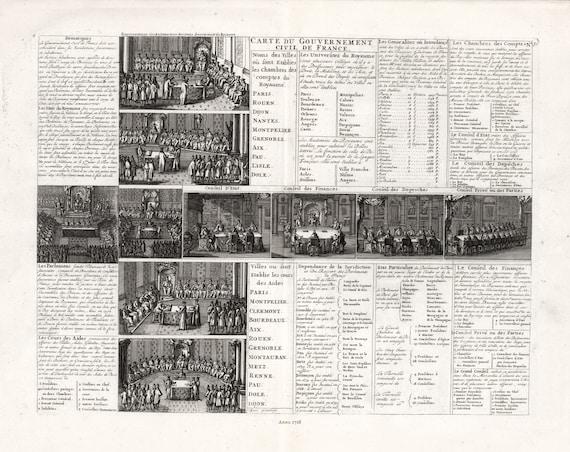 """Carte Du Gouvernement Civil de France, No. 31, 1718, chart on heavy cotton canvas, 22x27"""" approx."""