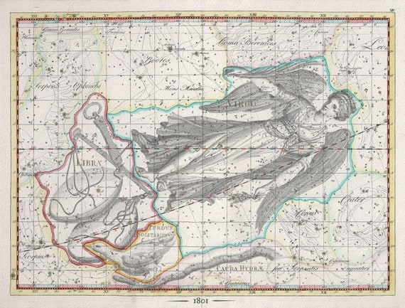 """Celestial XIII, 1801, Bode auth., map on heavy cotton canvas, 50 x 70cm, 20 x 25"""" approx."""