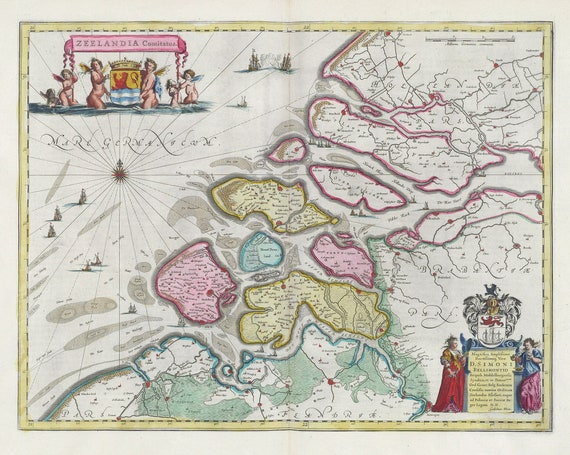 Low Countries, Zeelandia Comitatus,1665, Blaeu auth., map on heavy cotton canvas, 50 x 70 cm