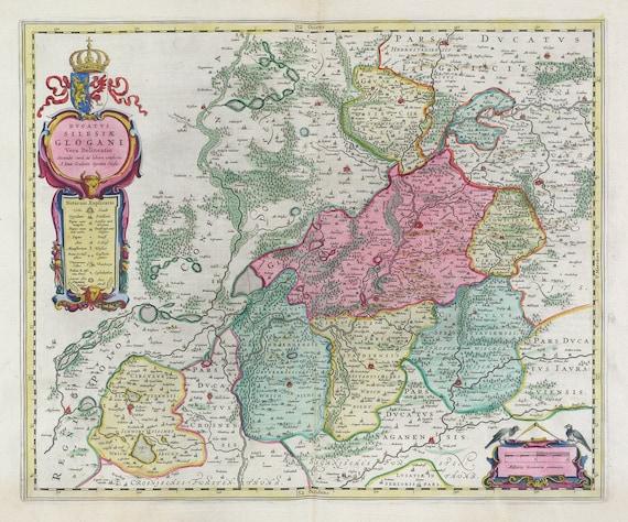 Poland: Poloniae, Dvcatvs Silesiae Glogani Vera Delineatio, 1665, Bleau auth., map on heavy cotton canvas, 50 x 70 cm