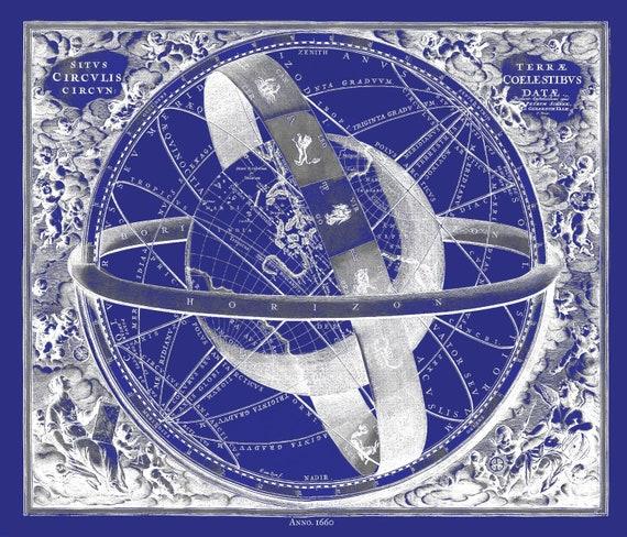 "Cellarius, Harmoni Macrocosmica XI, 1660 Cyanotype, map on heavy cotton canvas, 50 x 70cm, 20 x 25"" approx."