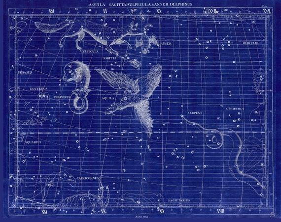 "Aquila, Sagitta, Vulpecula & Anser, Delphinus, 1729, Flamsteed auth. Cyanotype, celestial map on cotton canvas, 50 x 70cm, 20 x 25"" approx."
