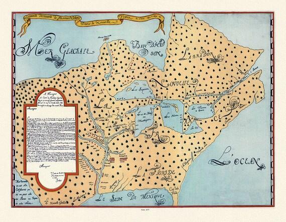 """Joliet, Nouvelle decouverte de plusieurs nations dans la Nouvelle France en 1673 et 1674, , map on heavy cotton canvas, 22x27"""" approx."""