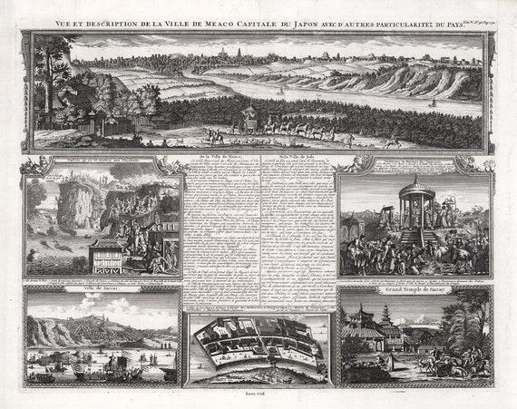 """Japan: Vue et description de la ville de Meaco capitale du Japon avec d'autres, 1718 , map on cotton canvas, 50x70cm (20 x 25"""") approx."""