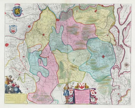 Low Countries, Tertia Pars Brabantiae, 1665, Blaeu auth.