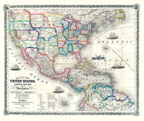 Thayer, Bridgman & Fanning-Map Of The United States, Canada, Mexico, Central America, and the West India Islands, 1853