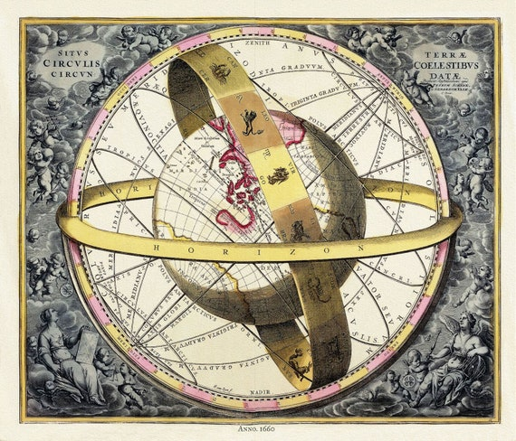 "Cellarius, Harmoni Macrocosmica XI, 1660 , map on heavy cotton canvas, 50 x 70cm, 20 x 25"" approx."