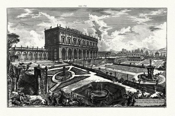"""Giovanni Battista Piranesi, Veduta della Villa Emo. Sig. 1764 , etching on canvas, 50 x 70cm, 20 x 25"""" approx."""