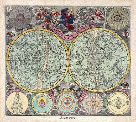 "Planisphere Coeleste, 1730, Seutter auth., celestial map on heavy cotton canvas, 50 x 70cm, 20 x 25"" approx."