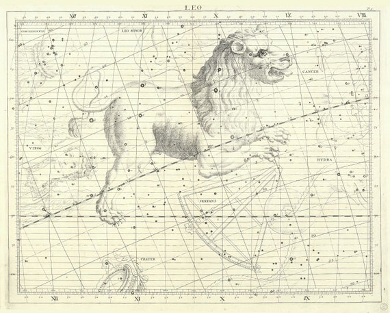 """Leo, 1729, Flamsteed auth., celestial map on heavy cotton canvas, 50 x 70cm, 20 x 25"""" approx."""