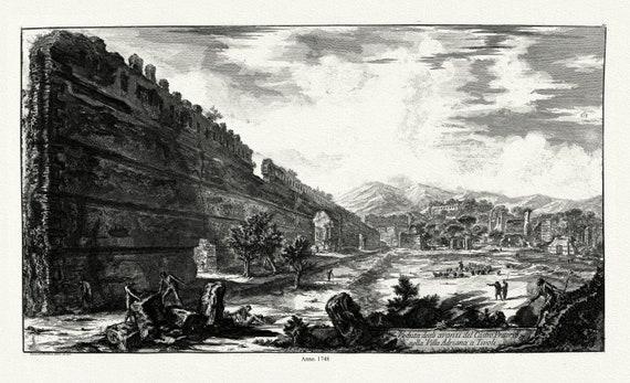 Rome: Giovanni Battista Piranesi, Veduta Degli Avanzi Del Castro Pretorio Nella Villa Adriana A Tivoli, 1748, etching ,canvas, 20x25 approx.