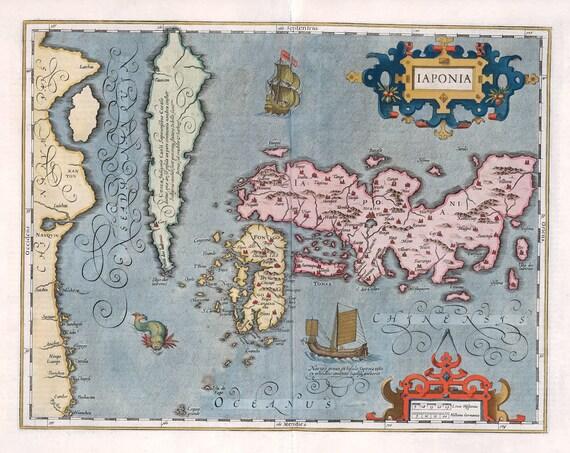 "Japan: laponia, 1623, Mercator et , map on heavy cotton canvas, 50x70cm (20 x 25"") approx."