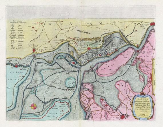 Low Countries, Tabvla Castelli ad Sandflitam, 1665, Blaeu auth., map on heavy cotton canvas, 50 x 70 cm