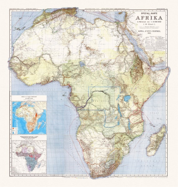 "Habernicht,  Map Spezial, Karte von Afrika. Sheets 1-10 & Suppl. I-II, 1885, map on heavy cotton canvas, 22x27"" approx."