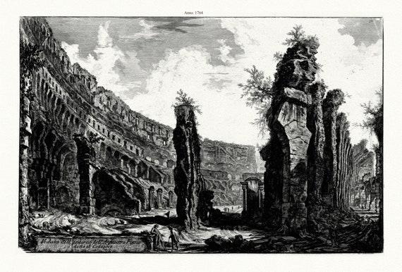"""Giovanni Battista Piranesi, Veduta Dell' Interno Dell' Anfiteatro Flavio Detto Il Colosseo, 1764, etching, 50 x 70cm, 20 x 25"""" approx."""