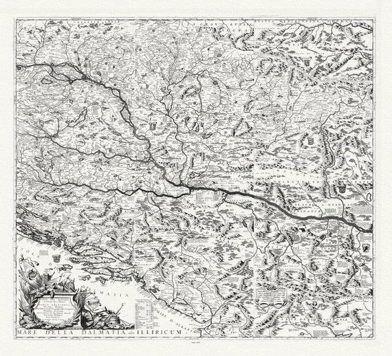 """Danube: Coronelli (Vicenzo 1650-1718), Mappa Corso del Danubio, 1693, map on heavy cotton canvas, 22x27"""" approx."""