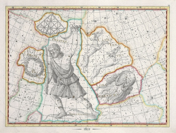 """Celestial VII, 1801, Bode auth., map on heavy cotton canvas, 50 x 70cm, 20 x 25"""" approx."""