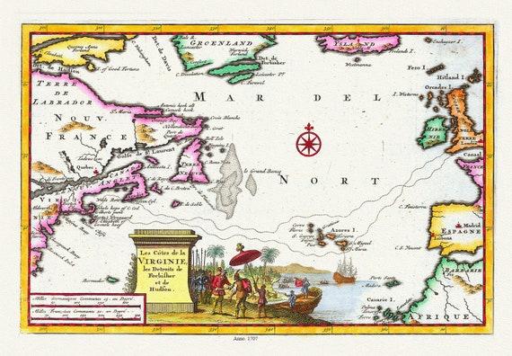 """Les Cotes de la Virginie, les Detroits de Forbisher et de Hudson, 1707, Aa auth., map on heavy cotton canvas, 50 x 70cm, 20 x 25"""" approx."""