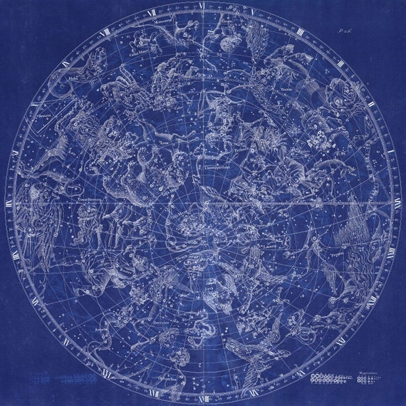 """Circular Planesphere Plate 26, 1729,  Flamsteed auth. Cyanotype, celestial map on heavy cotton canvas, 50 x 70cm, 20 x 25"""" approx."""