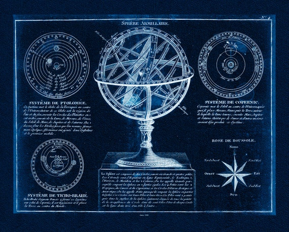 """Amillary Sphere, 1800, Delamarche auth. Cyanotype, celestial map on heavy cotton canvas, 50 x 70cm, 20 x 25"""" approx."""