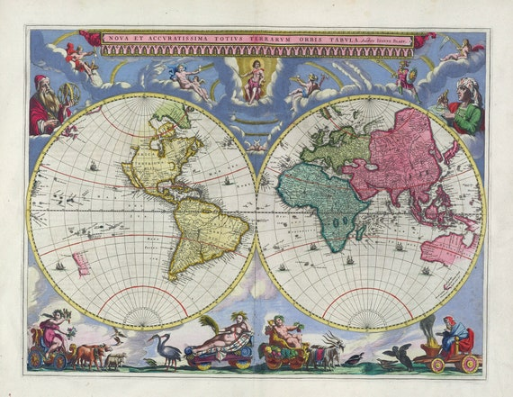 Nova Et Accvratissima Totius Terrarvm Orbis Tabvla. 1665. Blaeu auth., map on heavy cotton canvas, 50 x 70 cm