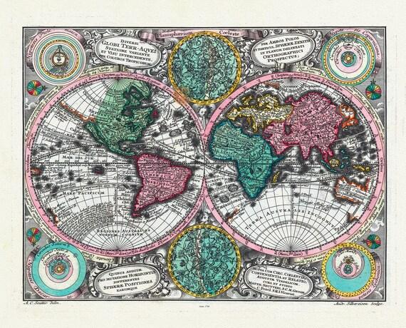 """Planisphaerium coeleste. 1744. Seutter auth., celestial map on heavy cotton canvas, 50 x 70cm, 20 x 25"""" approx."""