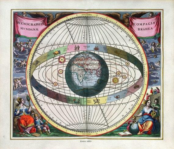 "Cellarius, Harmoni Macrocosmica VII, 1660, map on heavy cotton canvas, 50 x 70cm, 20 x 25"" approx."