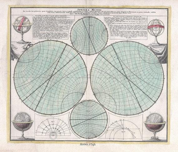 "Sphera Mundi,1742, Doppelmayr auth., celestial map on heavy cotton canvas, 50 x 70cm, 20 x 25"" approx."