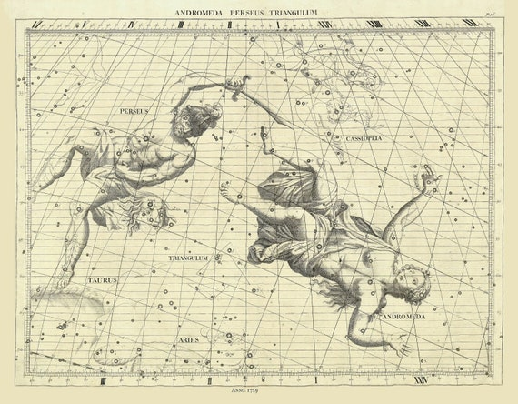 """Andromeda, Perseus, Triangulum, 1729 , celestial map on heavy cotton canvas, 50 x 70cm, 20 x 25"""" approx."""