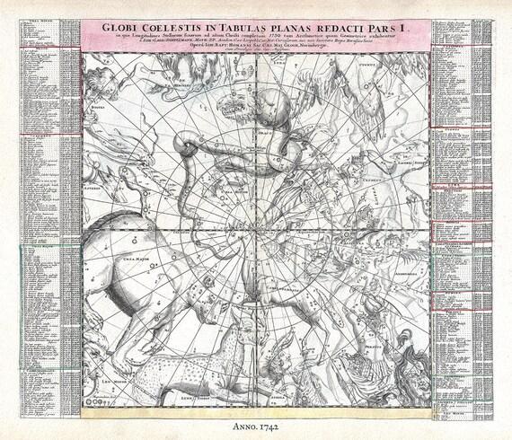 "Globi Coelestis in Tabula Planas Redacti Pars I, 1742, Doppelmayr auth. ,celestial map on heavy cotton canvas, 50 x 70cm, 20 x 25"" approx."