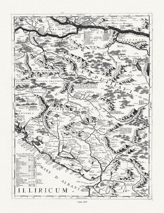 """Danube: Coronelli (Vicenzo 1650-1718), Corso del Danubio (Planche 2 de 6), 1693, map on heavy cotton canvas, 22x27"""" approx."""