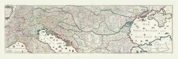 """Danube: Placide de Sainte-Helene et DuVal, Le course du Danube, 1703, map on heavy cotton canvas, 22x27"""" approx."""