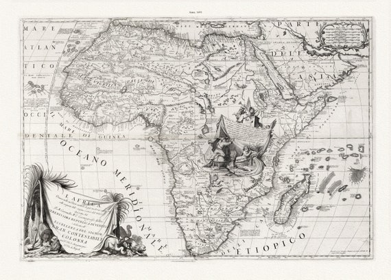 """Coronelli,  Africa, 1693, map on heavy cotton canvas, 22x27"""" approx."""