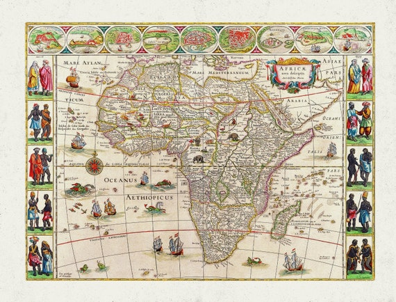 """Speed (John), Africa, 1600 Ver. D, map on heavy cotton canvas, 22x27"""" approx."""