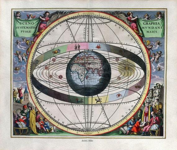 "Cellarius, Harmoni Macrocosmica II, 1660, map on heavy cotton canvas, 50 x 70cm, 20 x 25"" approx."
