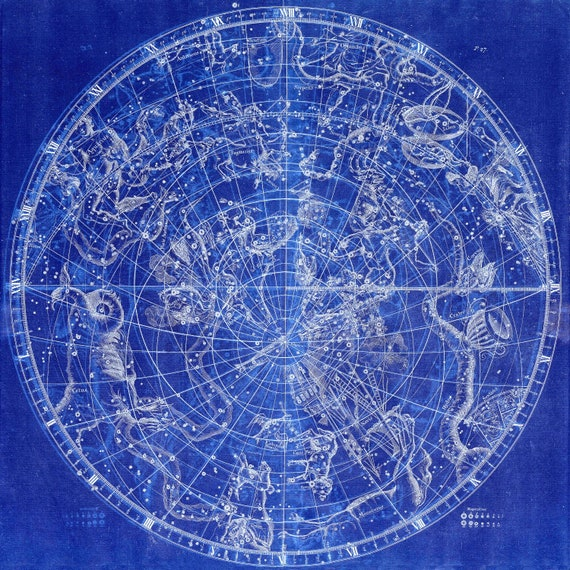 """Circular Planesphere Plate 27, 1729,  Flamsteed auth. Cyanotype, celestial map on heavy cotton canvas, 50 x 70cm, 20 x 25"""" approx."""