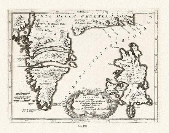 "Seutter, Groenland et Frislanda, 1740, map on heavy cotton canvas, 50 x 70cm, 20 x 25"" approx."