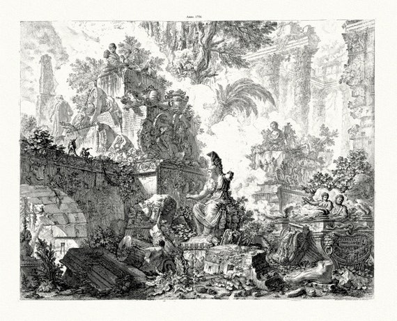 """Giovanni Battista Piranesi, Veduta del Ponte Lugano, 1756, etching on heavy cotton canvas, 50 x 70cm, 20 x 25"""" approx."""