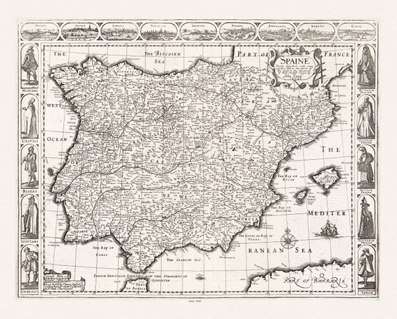 """John Speed, Spaine, 1626, map on heavy cotton canvas, 22x27"""" approx."""