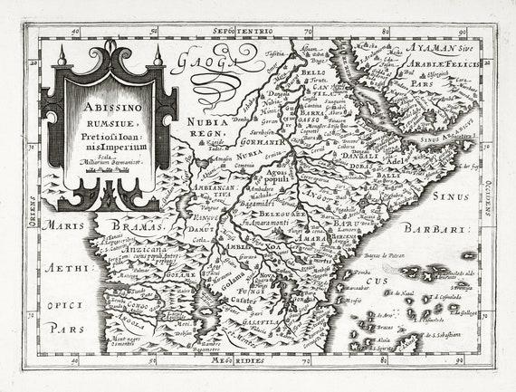 """Africa: Abissinorum sive pretiosi Ioannis imperium. 1636. Mercator et al. auth. , map on heavy cotton canvas, 50x70cm (20 x 25"""") approx."""