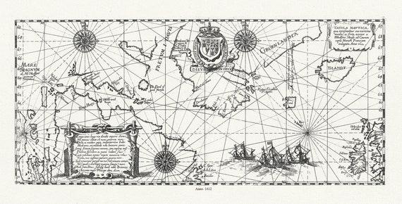 Tabula Nautica qua repraesentatur orae maritimae, meatus, ac freta, noviter a  Hudsono Anglo ad Caurum supra Novam Franciam indagata,1612