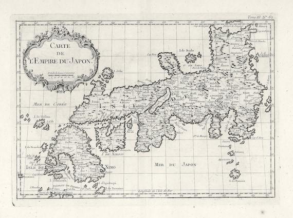 """Japan: Carte de L'Empire du Japon. 1764E Bellin auth., map on heavy cotton canvas, 50x70cm (20 x 25"""") approx."""