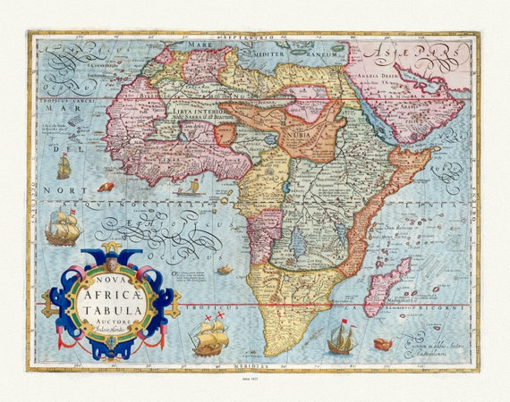 "Mercator et Hondius, Nova Africae Tabula, 1623, map on heavy cotton canvas, 22x27"" approx."