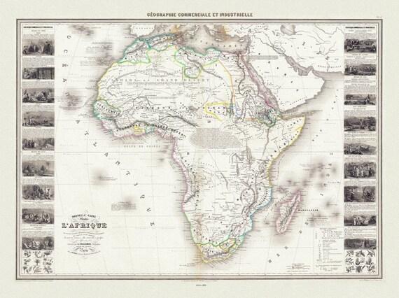 """Alexandre Vuillemin, Pl. 13. Nouvelle Carte Illustree de l'Afrique, 1861, map on heavy cotton canvas, 22x27"""" approx."""