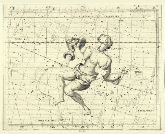 """Aquarius,1729, Flamsteed auth. , celestial map on heavy cotton canvas, 50 x 70cm, 20 x 25"""" approx."""