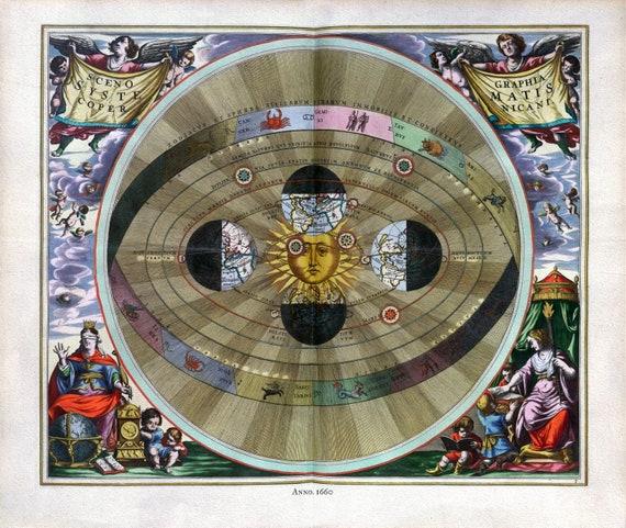"Cellarius, Harmoni Macrocosmica V, 1660, map on heavy cotton canvas, 50 x 70cm, 20 x 25"" approx."