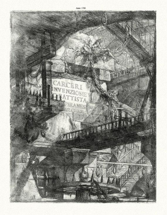 Rome: Giovanni Battista Piranesi, Le Carceri d'Invenzione, Frontispicio, ( Les prisons de 'invention), 1760, on canvas, 22x27 inches approx.